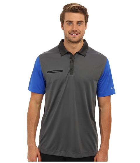 Nike Golf - Lightweight Innovation Color Polo (Dark Grey/Hyper Cobalt) Men