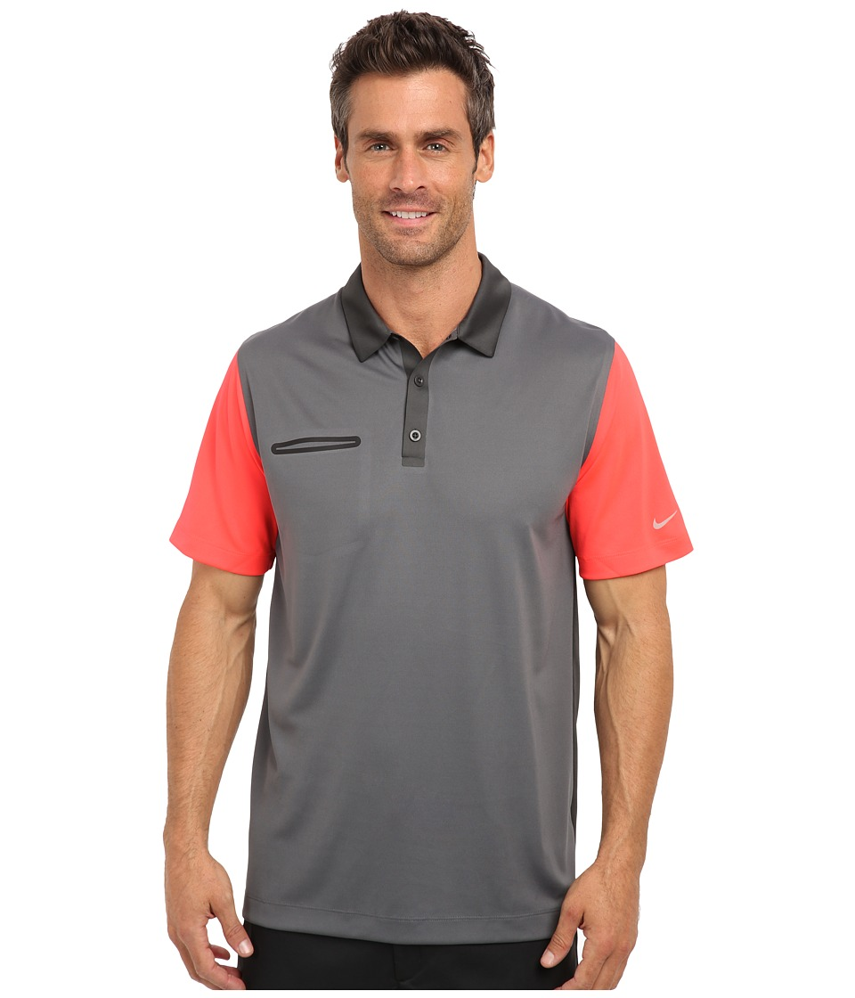 Nike Golf - Lightweight Innovation Color Polo (Dark Grey/Laser Crimson) Men's Short Sleeve Knit