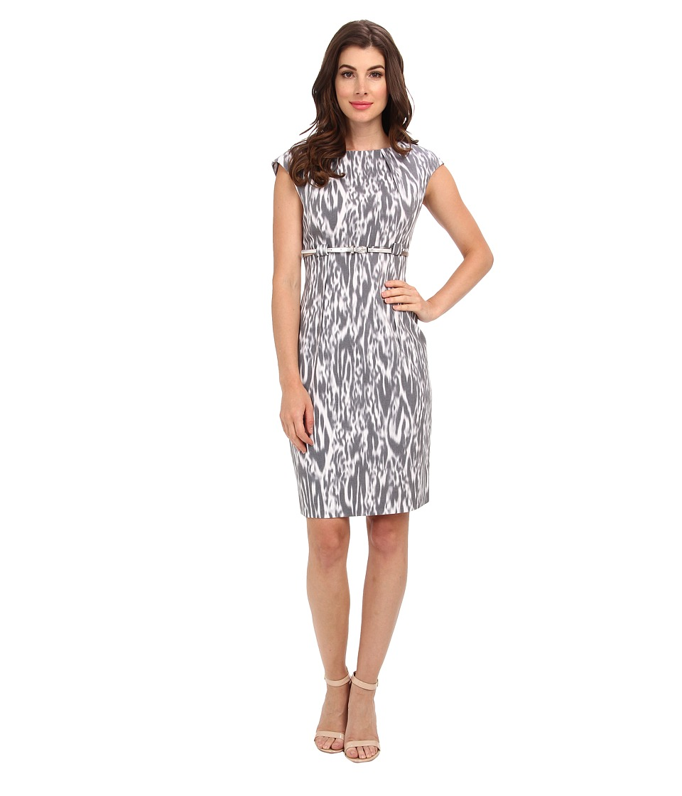 Calvin Klein - Cap Sleeve Printed Sheath Dress (Black/Moon/White Multi) Women's Dress
