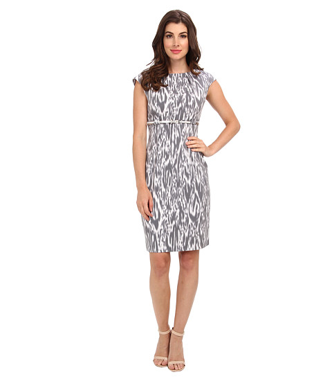 Calvin Klein - Cap Sleeve Printed Sheath Dress (Black/Moon/White Multi) Women