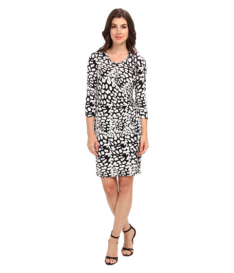 Calvin Klein - 3/4 Sleeve Printed Ruched Side Dress (White/Black) Women
