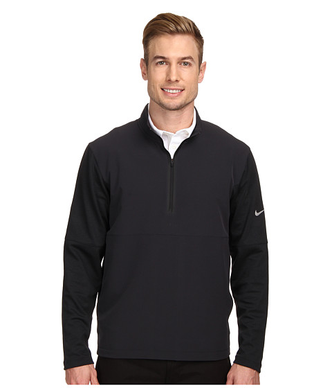 Nike Golf - Dri-FIT Wool Tech Protect Cover-Up (Black/Black Heather/Black/Metallic Silver) Men's Long Sleeve Pullover
