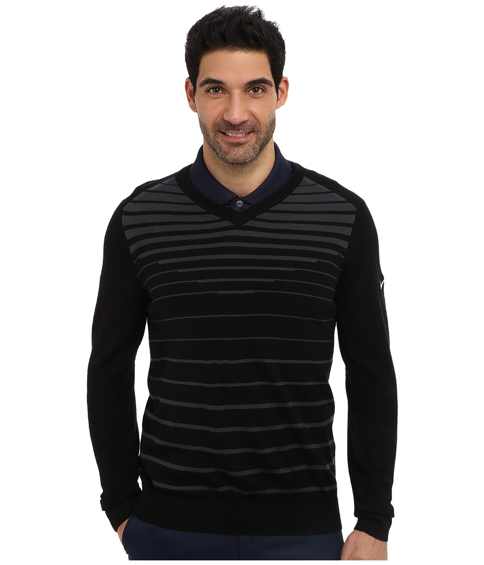Nike Golf - 3D V-Neck Sweater (Black/Anthracite/Metallic Silver) Men