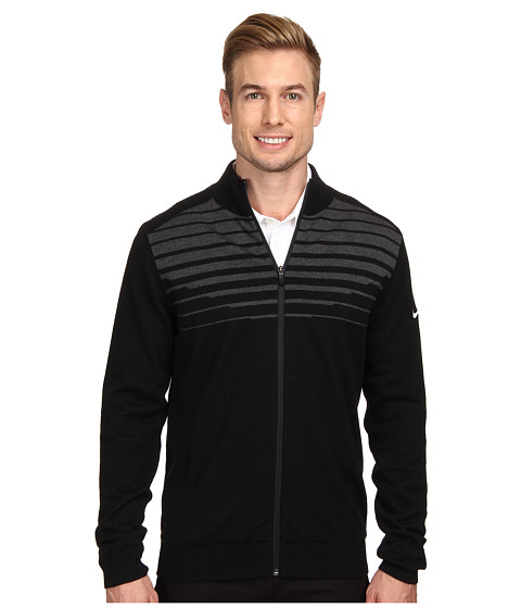 Nike Golf - Wind Resist Full-Zip Sweater (Black/Anthracite/Metallic Silver) Men