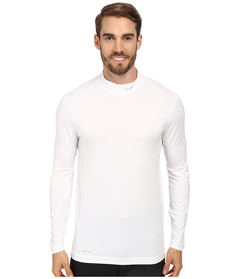 Nike Golf - Nike Golf Core L/S Base Layer (White/Metallic Silver) Men's Clothing