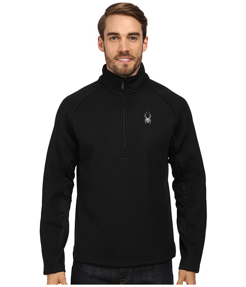 Spyder - Pitch Half Zip Heavy Weight Core Sweater (Black) Men