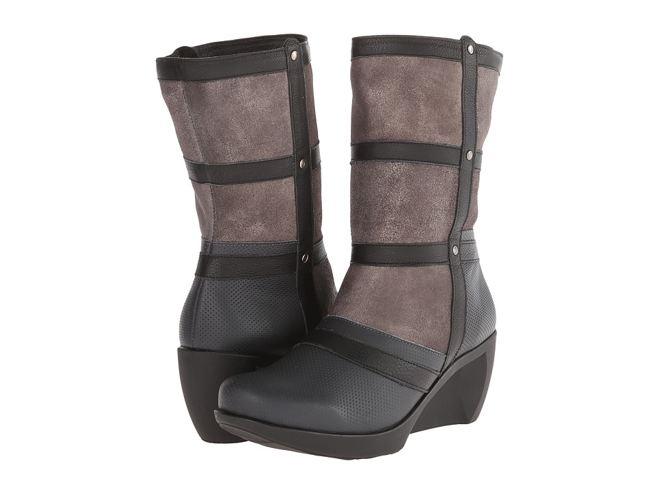 Naot Footwear - Moon (Caviar Leather/Onyx Leather/Gray Shimmer Leather) Women