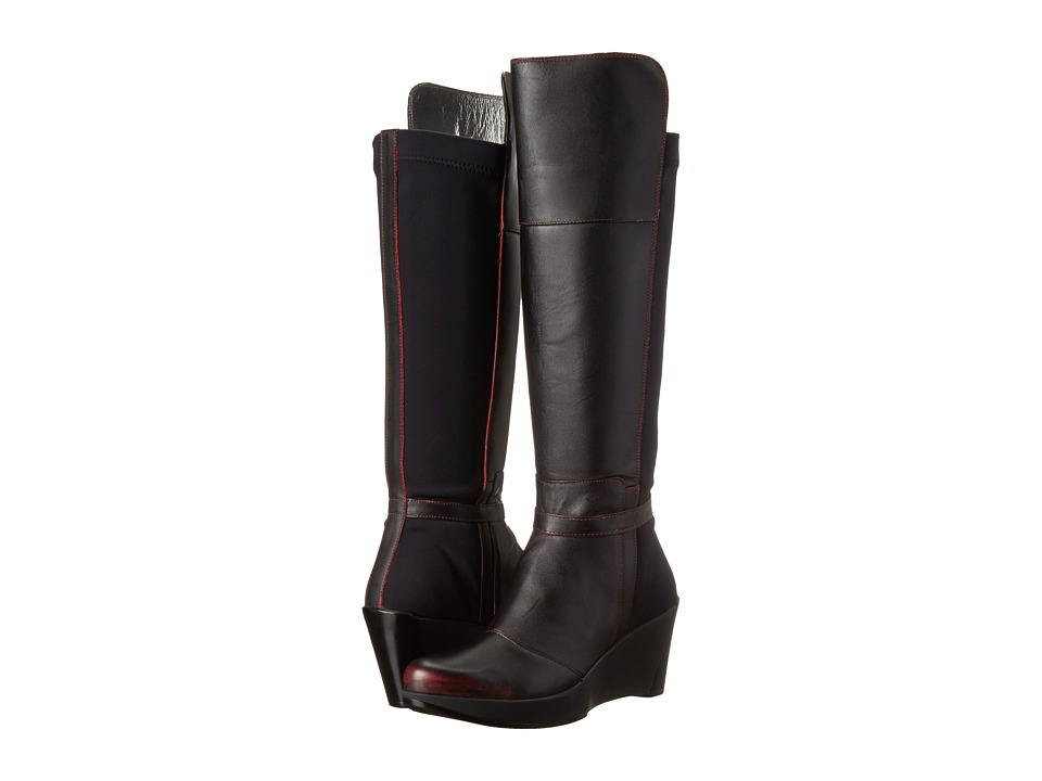 Naot Footwear - Delilah (Volcanic Red Leather/Black Stretch) Women's Boots