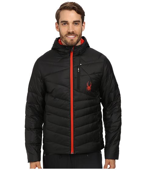 Spyder - Dolomite Hoodie Down Jacket (Black/Volcano) Men