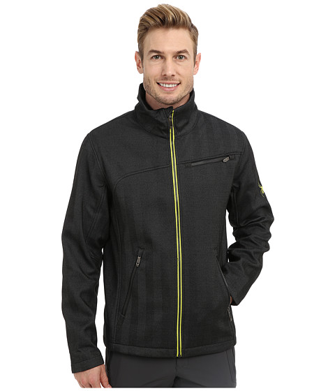 Spyder - Fresh Air Novelty GT Softshell Jacket (Black Oversized Herringbone/Acid) Men's Coat