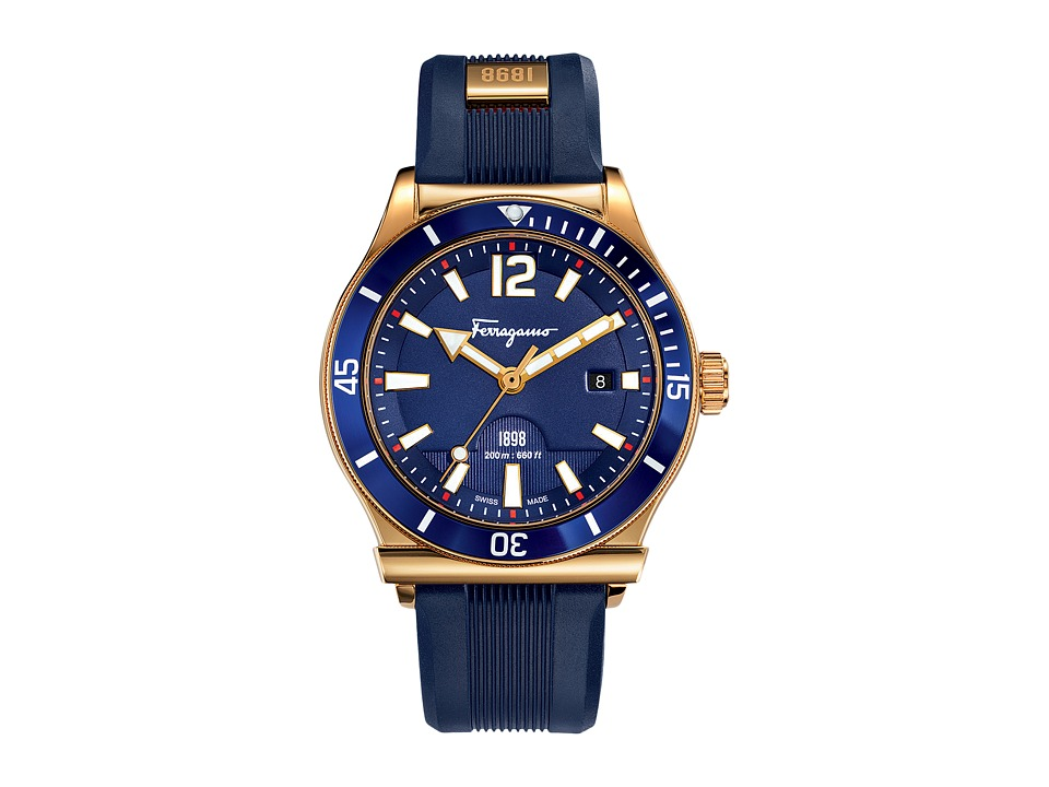 Salvatore Ferragamo - 1898 FF3120014 (Gold/Blue Aluminum) Watches