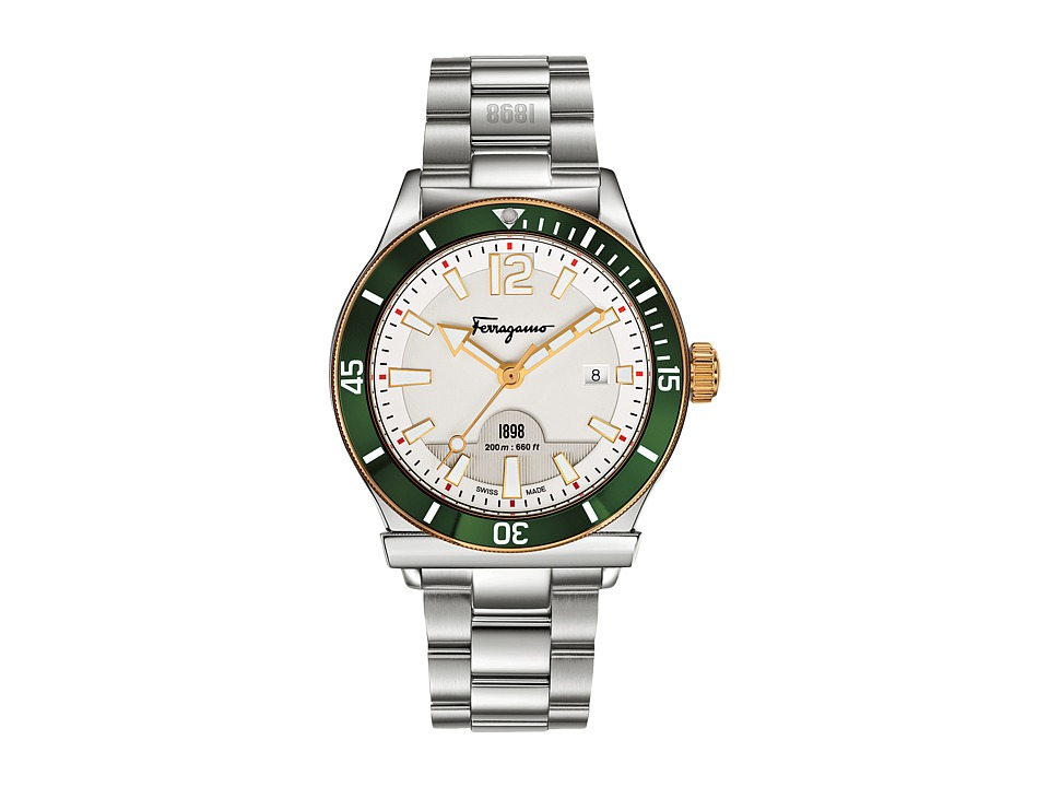 Salvatore Ferragamo - 1898 FF3150014 (Stainless Steel/Green Aluminum) Watches