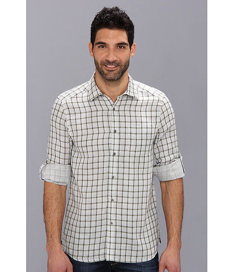 Kenneth Cole Sportswear - Long Sleeve Double Face Check Shirt (Ash Grey Combo) Men