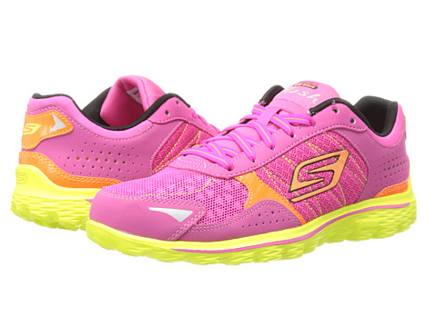 SKECHERS KIDS - GOwalk 2-Flash 81054L (Little Kid/Big Kid) (Hot Pink/Lime) Girls Shoes