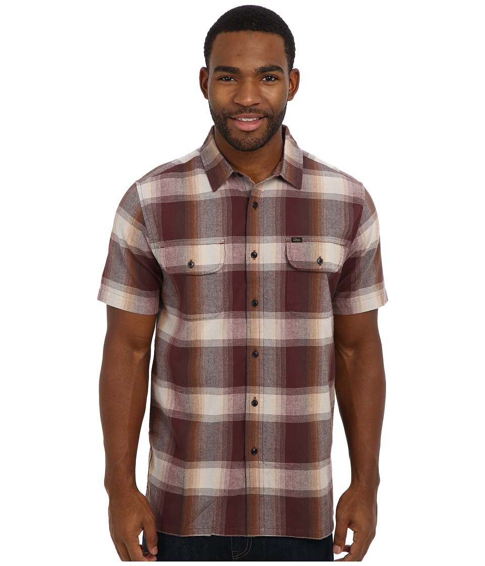 Obey - Fulton S/S Woven (Burgundy) Men's Clothing