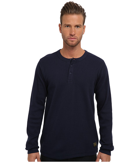 Obey - Elms L/S Knit Henley (Dark Navy) Men's Sweater