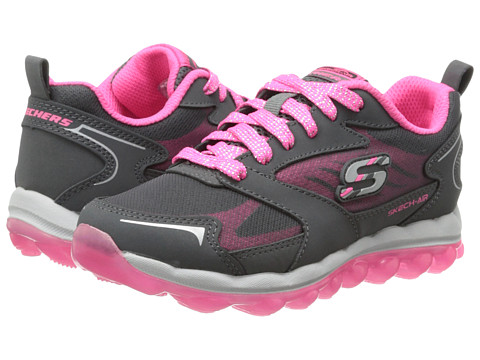 SKECHERS KIDS - SKECH AIR - Bizzy Bounce - 80221L (Little Kid/Big Kid) (Grey/Hot Pink) Girl's Shoes