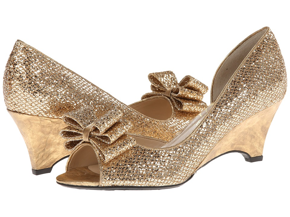 J. Renee - Chrissy (Gold Glam Fabric) Women's Wedge Shoes