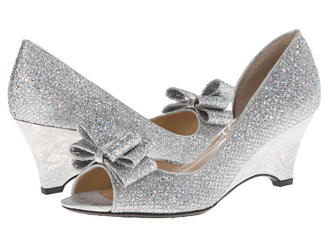 J. Renee - Chrissy (Silver Glam Fabric) Women's Wedge Shoes
