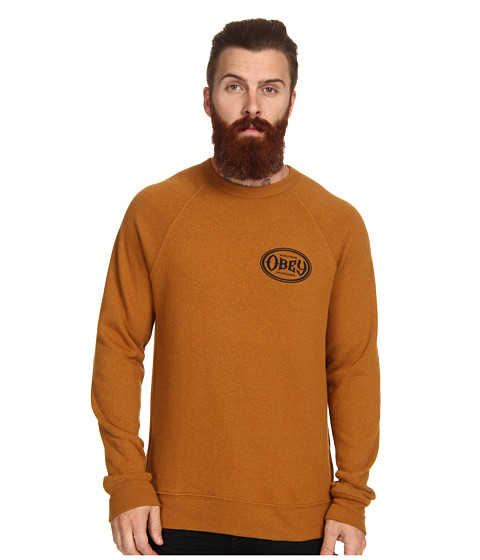 Obey Olympus Heather Tri Blend Crew Neck (Cathay Spice) Men's Long Sleeve Pullover