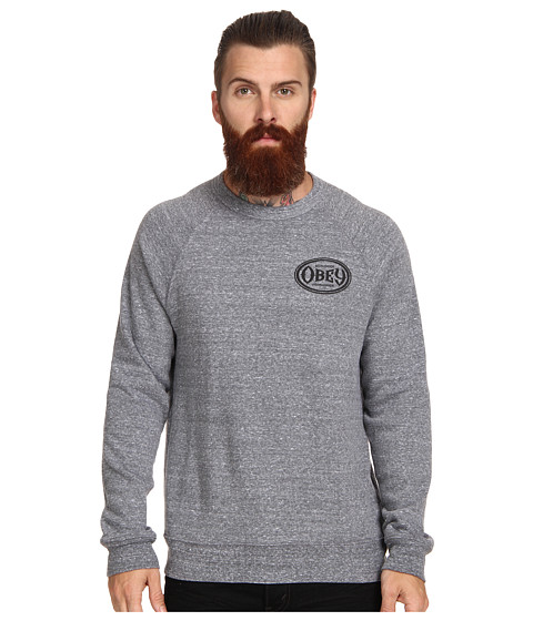 Obey Olympus Heather Tri Blend Crew Neck (Heather Grey) Men's Long Sleeve Pullover