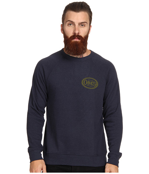 Obey Olympus Heather Tri Blend Crew Neck (Mood Indigo) Men's Long Sleeve Pullover