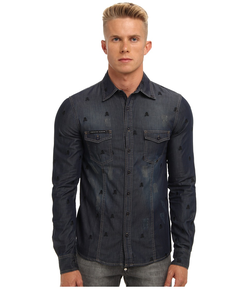 Philipp Plein - Allover Skull Denim Button Up (Pasadena Blue) Men's Long Sleeve Button Up
