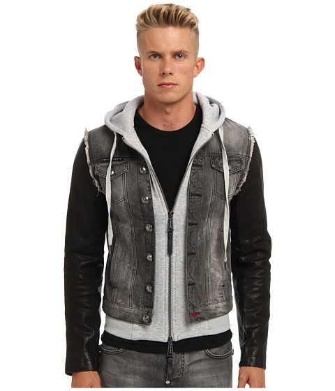 Philipp Plein - Distressed Denim Jacket (Grey) Men's Coat