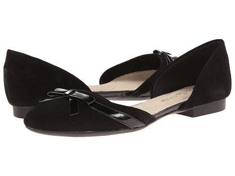 Bella-Vita - Olivia (Black Suede/Black Patent Bow) Women's Dress Flat Shoes