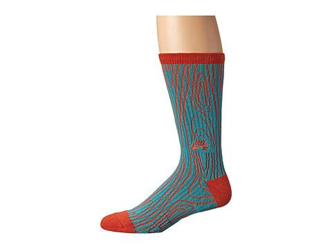 Nike SB - Dri-Fit Woodgrain Crew (Catalina/Rust Factor) Crew Cut Socks Shoes