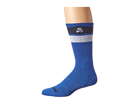 Nike SB - Elite SB Skate Crew Sock (Game Royal/Obsidian/White/White) Men's Crew Cut Socks Shoes