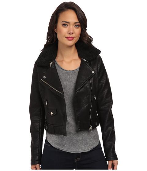 Obey - Eddie Vegan Leather Jacket (Black) Women's Coat