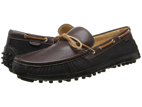 Cole Haan - Grant Canoe Camp Moc (Black/Chestnut) Men's Slip on Shoes