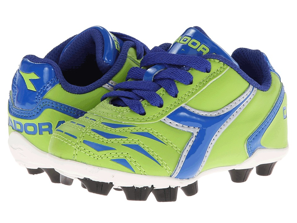 Diadora Kids - Capitano MD Jr Soccer (Toddler/Little Kid/Big Kid) (Lime Green/Dk Royal) Kids Shoes