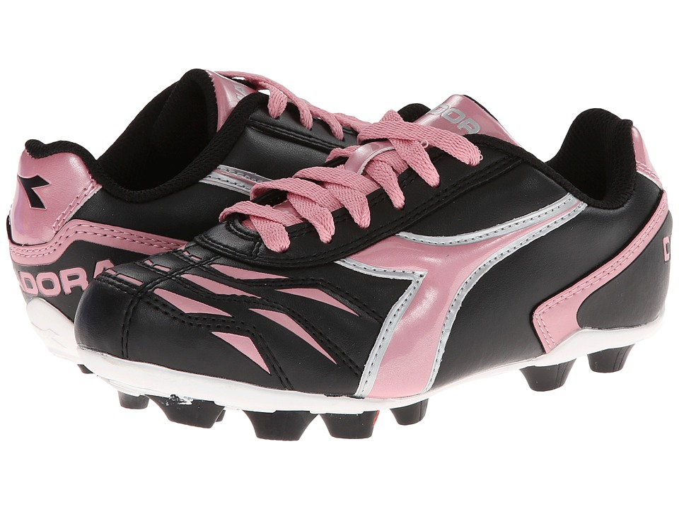 Diadora Kids - Capitano MD Jr Soccer (Toddler/Little Kid/Big Kid) (Black/Pink) Kids Shoes