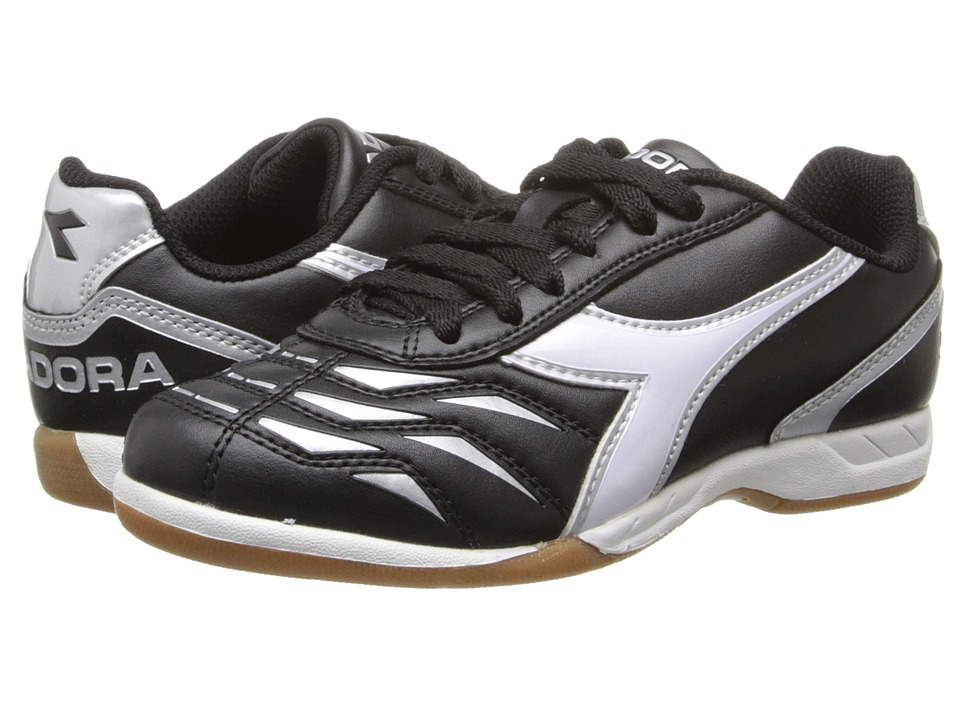 Diadora Kids - Capitano ID Jr (Toddler/Little Kid/Big Kid) (Black/White/Silver) Kids Shoes