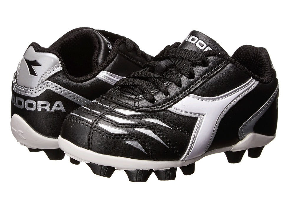 Diadora Kids - Capitano MD Jr Soccer (Toddler/Little Kid/Big Kid) (Black/White/Silver) Kids Shoes