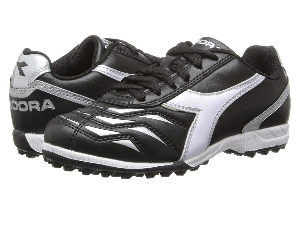 Diadora Kids - Capitano TF Jr (Toddler/Little Kid/Big Kid) (Black/White/Silver) Kids Shoes