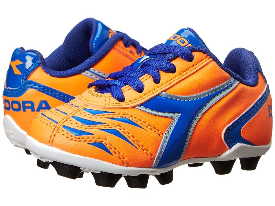 Diadora Kids - Capitano MD Jr Soccer (Toddler/Little Kid/Big Kid) (Orange/Blue) Kids Shoes