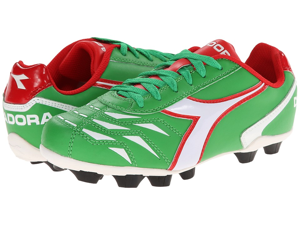 Diadora Kids - Capitano MD Jr Soccer (Toddler/Little Kid/Big Kid) (Green/White/Red) Kids Shoes