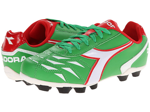 Diadora Kids - Capitano MD Jr Soccer (Toddler/Little Kid/Big Kid) (Green/White/Red) Kids Shoes