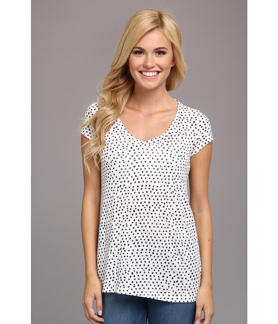 Alternative - Printed Basic V-Neck Tee (Eco Ivory Cambridge Blue Haru Dot) Women's T Shirt