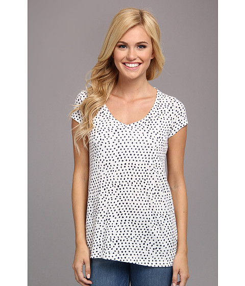Alternative - Printed Basic V-Neck Tee (Eco Ivory Cambridge Blue Haru Dot) Women