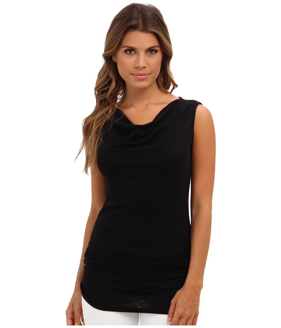 Michael Stars - Slub S/S Drape Neck w/ Shirring Top (Black) Women's Short Sleeve Pullover