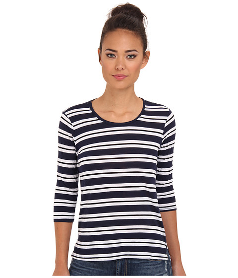 Michael Stars - Mercer Stripe Elbow Sleeve Crew Neck (Ship) Women's T Shirt