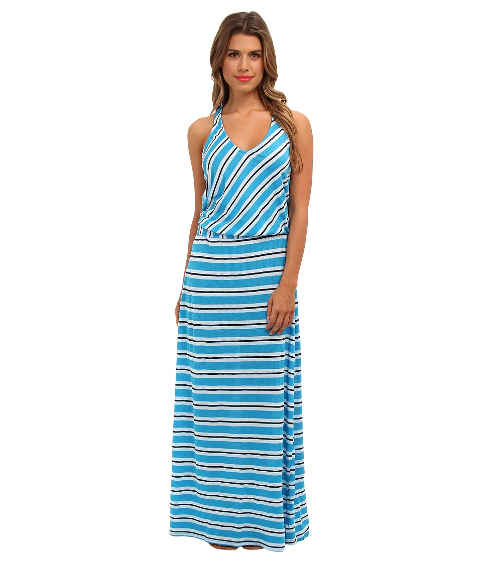 Michael Stars - Mercer Stripe Maxi Dress w/ Twist Back (Atlantic) Women's Dress