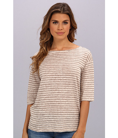 Michael Stars - Linen Knit Stripe Elbow Sleeve Boatneck Top (Oatmeal/Cobblestone) Women