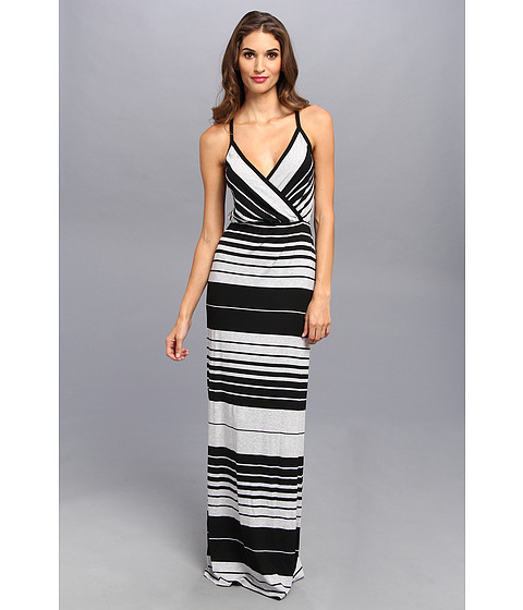 Michael Stars - Delancy Stripe Surplice Maxi Dress (Black/Heather Grey) Women