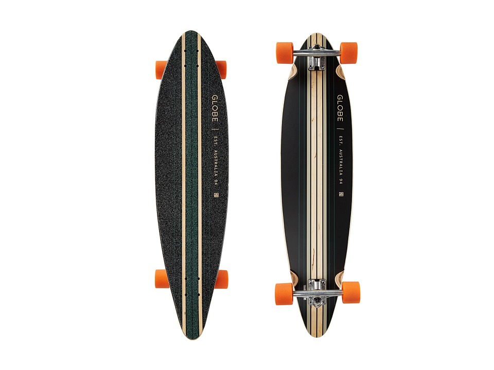 Globe - Pinner Cruiser (Black/Sea Port/Orange) Skateboards Sports Equipment
