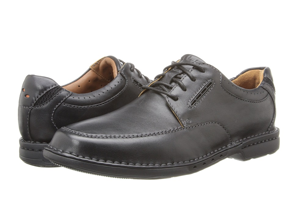 Clarks - Un.Corner Time (Black Leather) Men's Lace Up Cap Toe Shoes